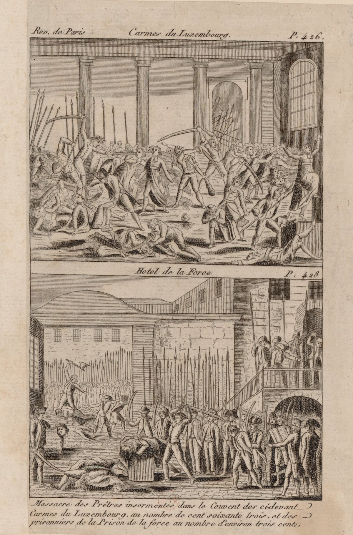 Print of crowd attacking and killing clergy and prisoners