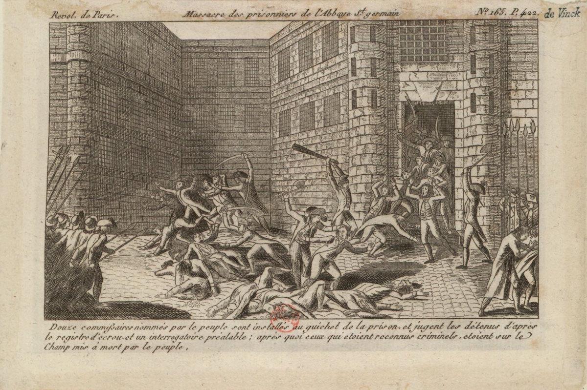 Woodcut print of massacre at Saint-Germain Abbey