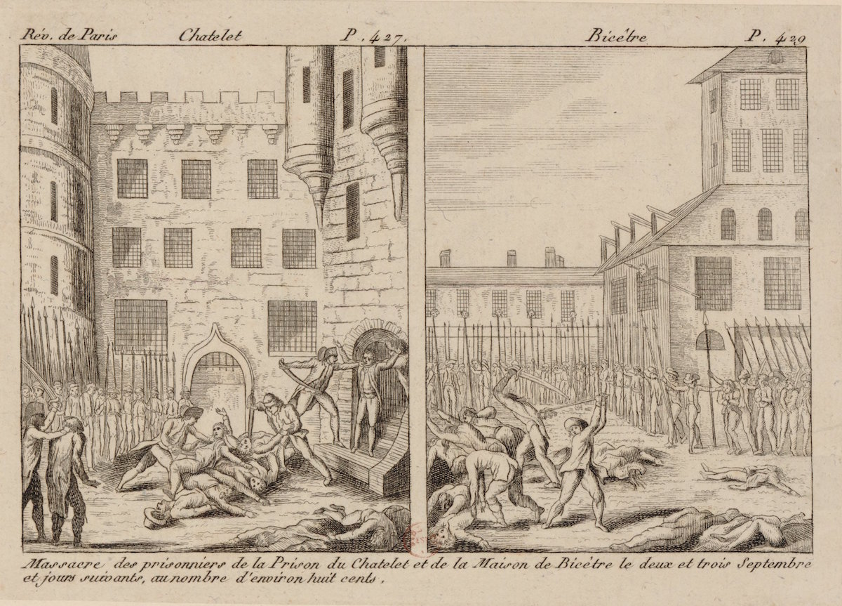 Print of attack on prisoners