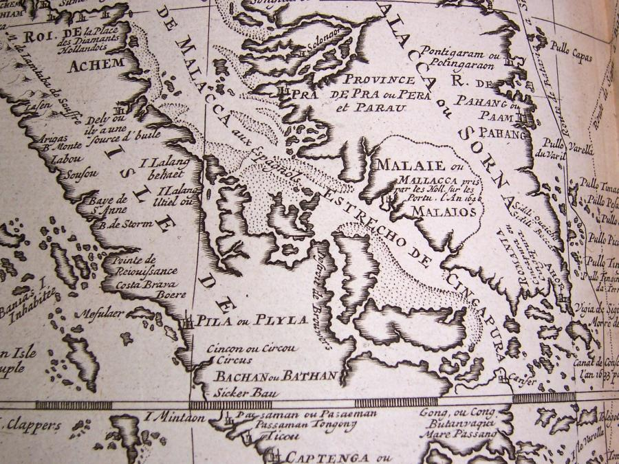 Map detail of eighteenth century map of Malacca and its surrounding territories