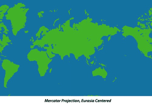 Mercator Projection with Eurasia Centered