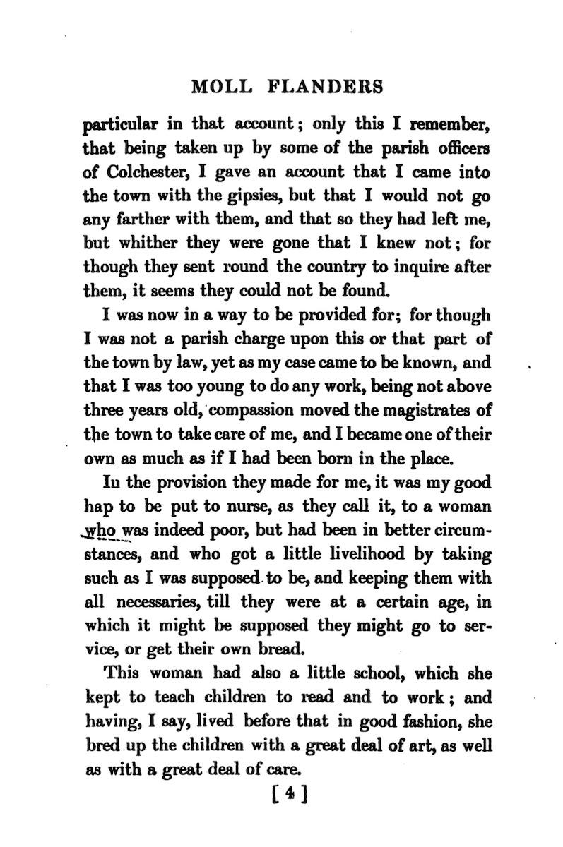 Excerpt of Moll Flanders