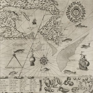 Hand drawn map of New France, 1612