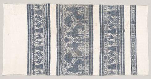 Linen Towel with Indigo Woven Border