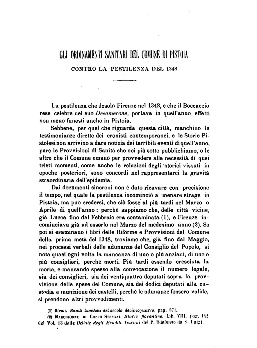 Health Ordinances of Pistoia