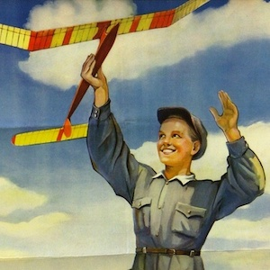 Thumbnail of poster with boy flying toy plane