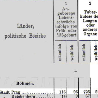 Table of information in German