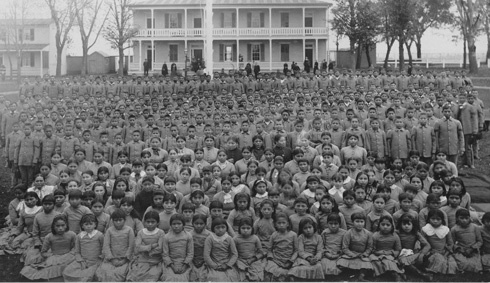 Photograph of schoolchildren all gathered together