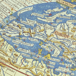Ptolemy's Map displays a out of proportion western Europe, Mediterranean, and North Africa.