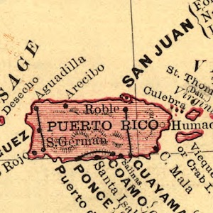 Inset of Puerto Rice from a map of the Spanish American War in 1898