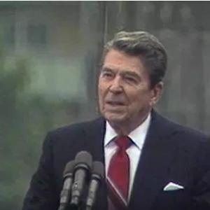 Video still of Ronald Reagan at the Brandenburg Gate