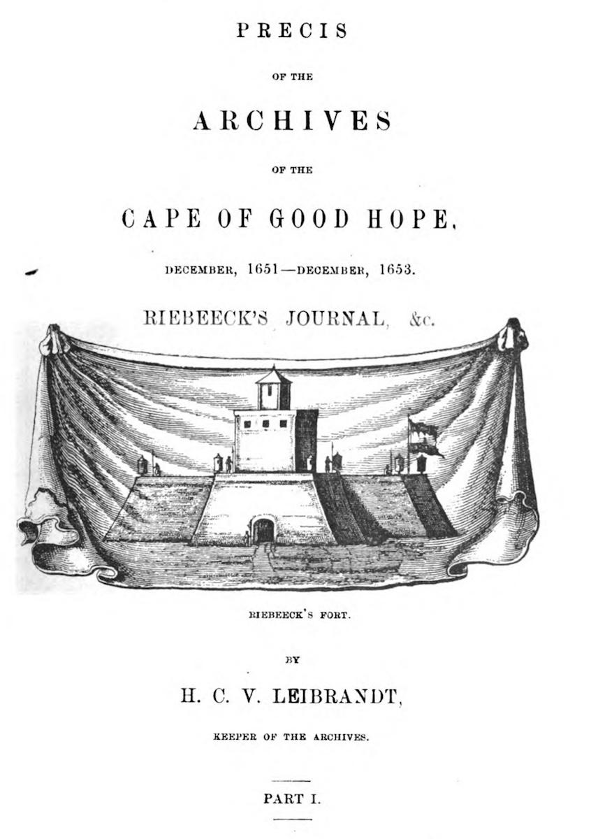 Cover page of Journal of Jan van Riebeeck