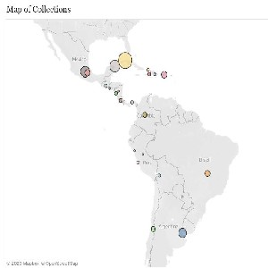 Map of Latin and South America showing bubbles indicating the number of resources in the database for each country