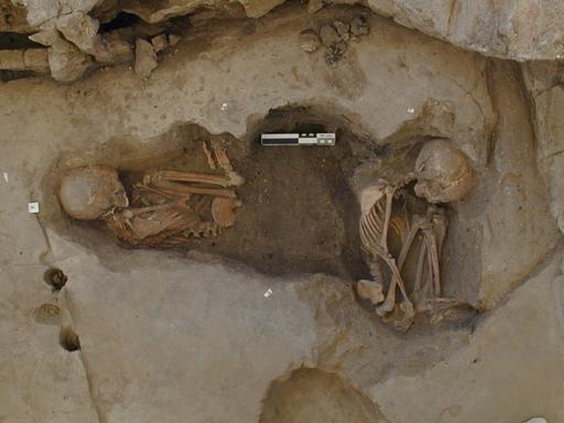 Skeletons of two Neolithic children