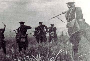 Photograph of a group of guards with backs to camera pointing rifles