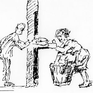 Drawing of a soup ration in the gulag
