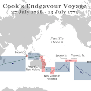 Thumbnail image of Cook's Endeavor Voyage from South Seas website.