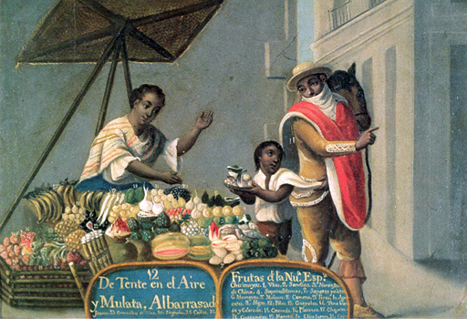Painting of a mulata woman selling items in the street