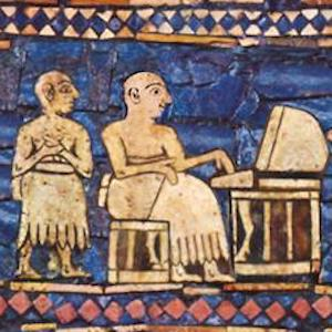 Mosaic of sumerian craftsmen working