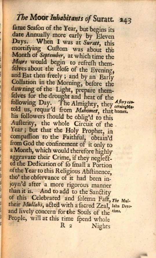 """Page from """"A Voyage to Surat in the Year 1689"""" transcription in text"""