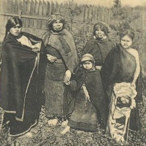 Thumbnail image of Postcard of Women and Girls with Cradleboard in Chile