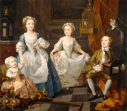 Life-size painting of four children