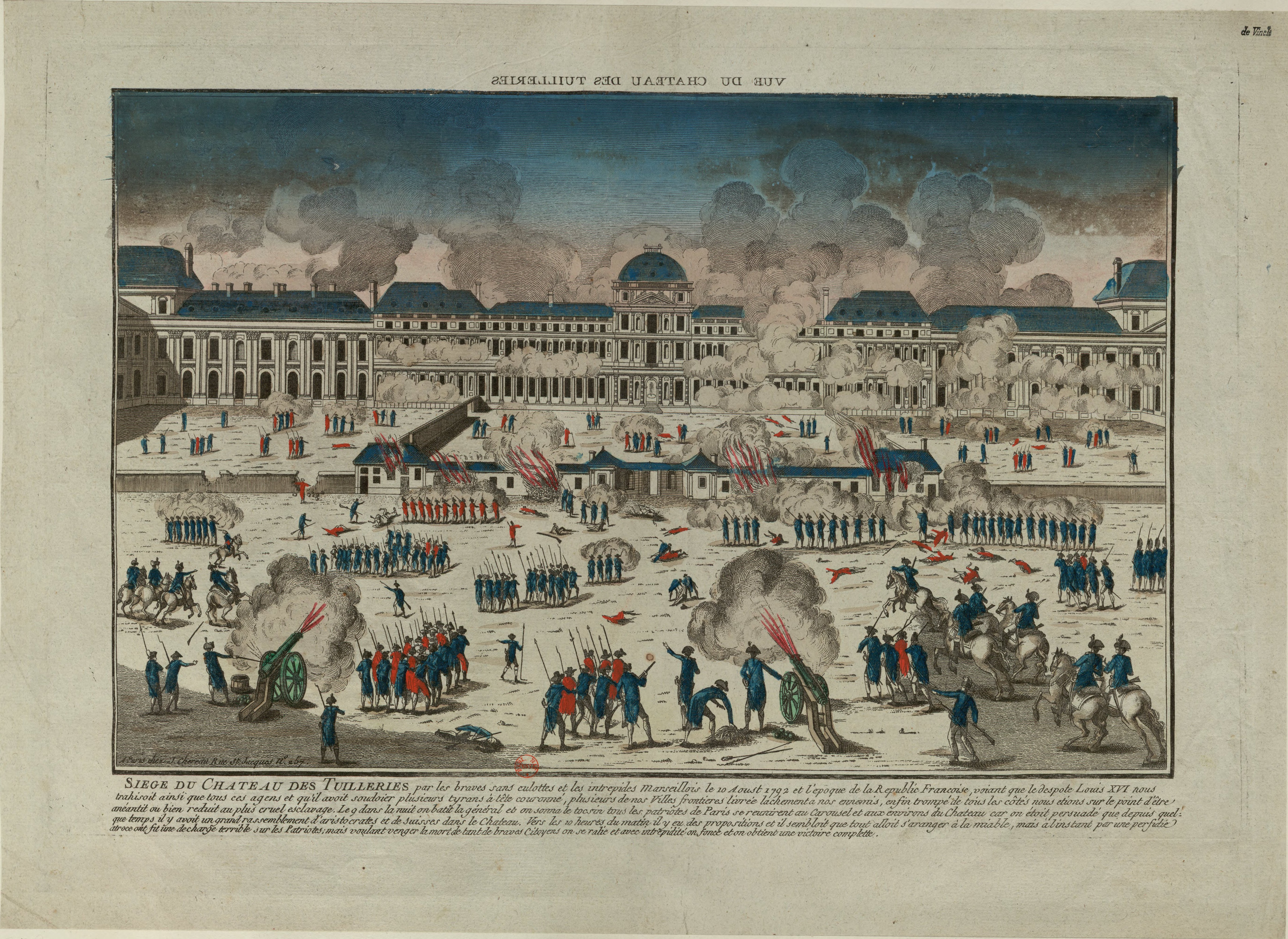 Engraving of storming of the Tuileries Palace