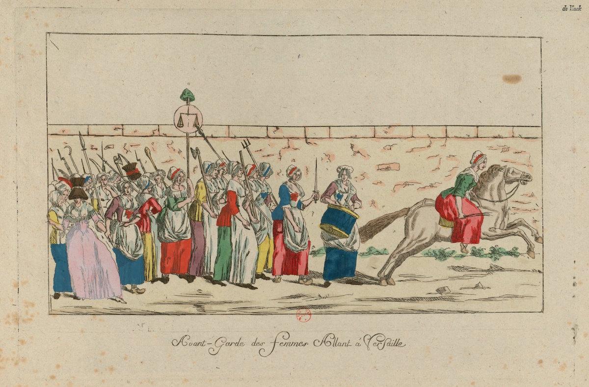 Print of crowd of women standing behind woman on horseback