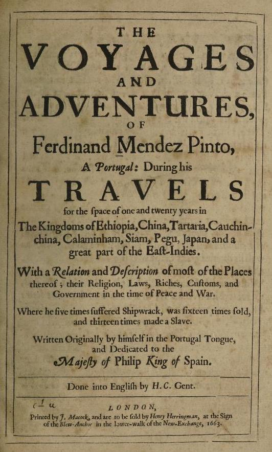 Title page of The Voyages and Adventures of Ferdinand Mendez Pinto