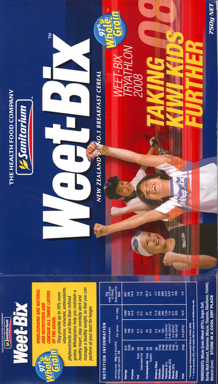 Weetbix advertisement with sports kids on it
